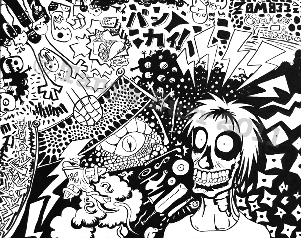 Stream of Zombies. Sharpie on Canvas.